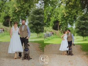 Country Wedding Photo with Dog Christine Reid Photography